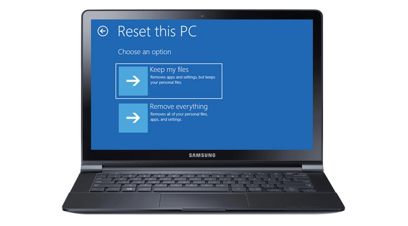 reset laptop to factory settings