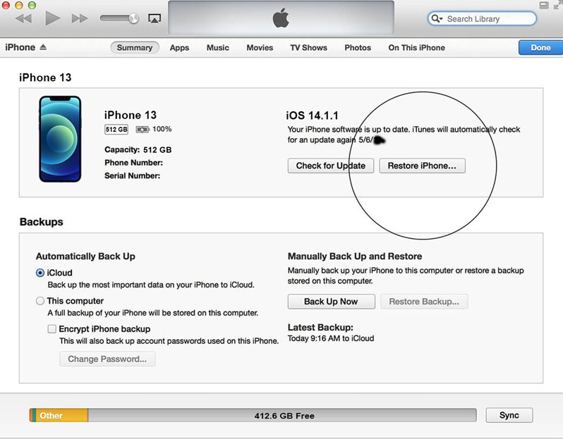 restore iphone 13 from itunes